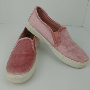 LOFT pink velour slip on shoes
